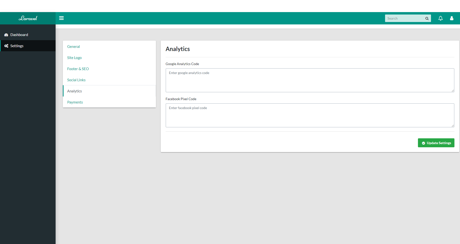 Settings Section - Analytics