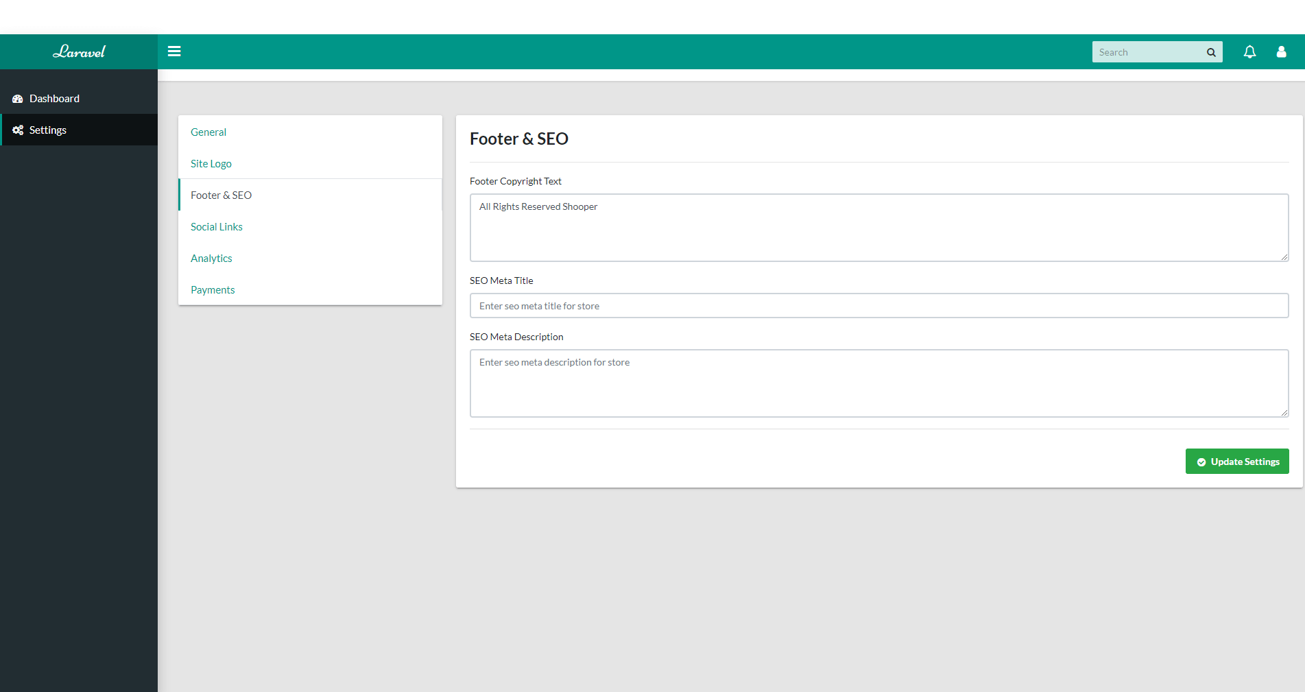 Settings Section - Footer