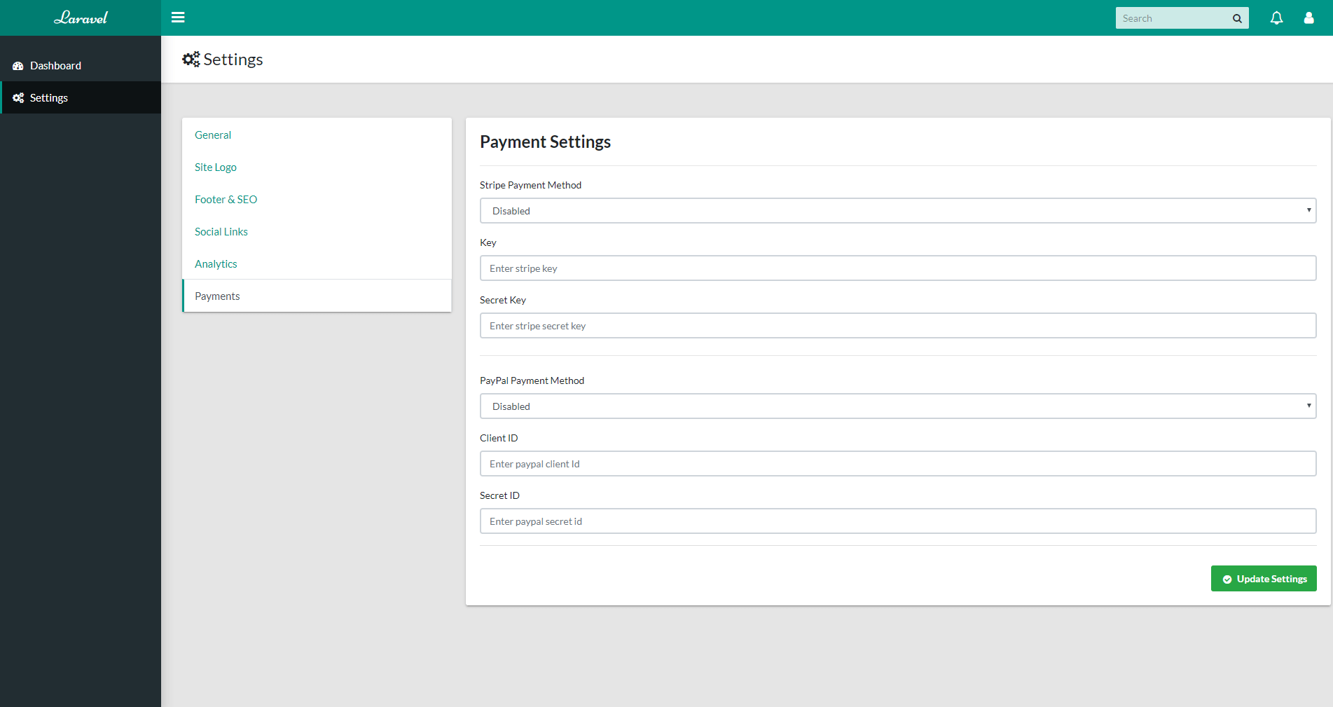 Settings Section - Payments