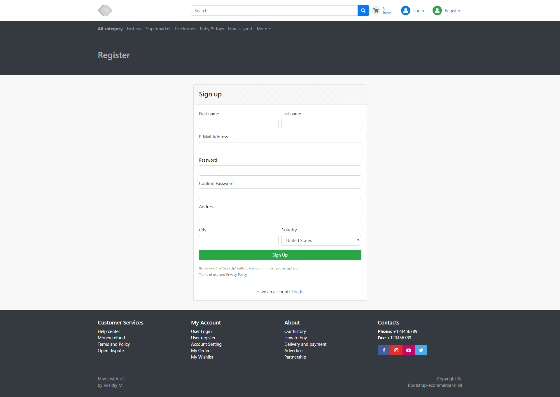Register Page - E commerce Application